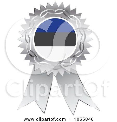 Royalty-Free Vector Clip Art Illustration of a Silver Ribbon Estonia Flag Medal by Andrei Marincas