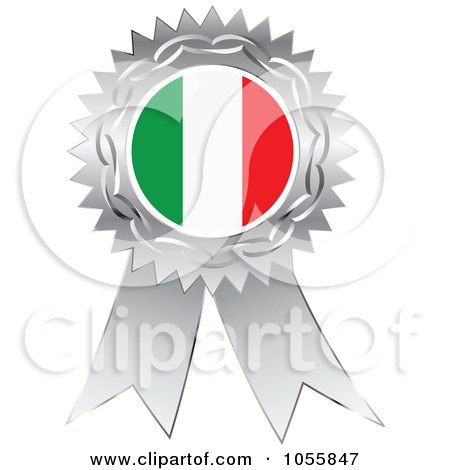Royalty-Free Vector Clip Art Illustration of a Silver Ribbon Italy Flag Medal by Andrei Marincas