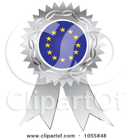 Royalty-Free Vector Clip Art Illustration of a Silver Ribbon European Flag Medal by Andrei Marincas