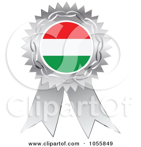 Royalty-Free Vector Clip Art Illustration of a Silver Ribbon Hungary Flag Medal by Andrei Marincas