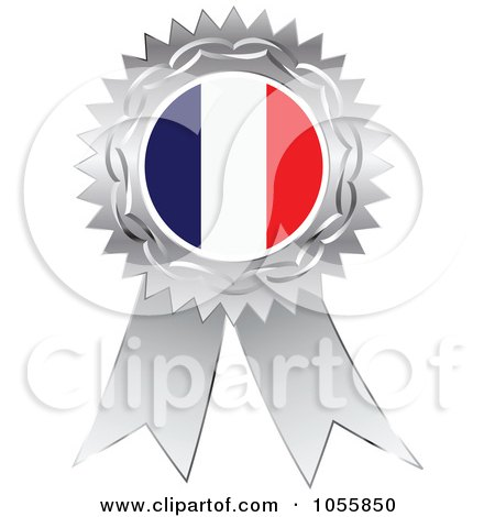 Royalty-Free Vector Clip Art Illustration of a Silver Ribbon France Flag Medal by Andrei Marincas