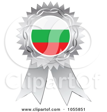 Royalty-Free Vector Clip Art Illustration of a Silver Ribbon Bulgaria Flag Medal by Andrei Marincas