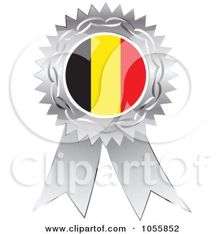 Royalty-Free Vector Clip Art Illustration of a Silver Ribbon Belgium Flag Medal by Andrei Marincas