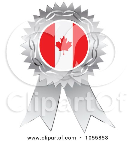Royalty-Free Vector Clip Art Illustration of a Silver Ribbon Canadian Flag Medal by Andrei Marincas