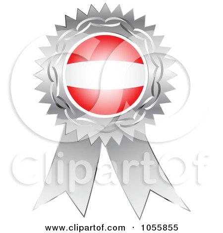 Royalty-Free Vector Clip Art Illustration of a Silver Ribbon Austria Flag Medal by Andrei Marincas