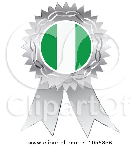 Royalty-Free Vector Clip Art Illustration of a Silver Ribbon Nigeria Flag Medal by Andrei Marincas