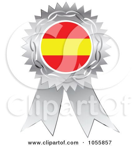 Royalty-Free Vector Clip Art Illustration of a Silver Ribbon Spanish Flag Medal by Andrei Marincas