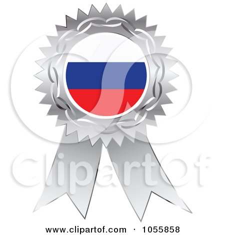 Royalty-Free Vector Clip Art Illustration of a Silver Ribbon Russia Flag Medal by Andrei Marincas