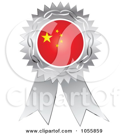 Royalty-Free Vector Clip Art Illustration of a Silver Ribbon China Flag Medal by Andrei Marincas