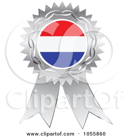 Royalty-Free Vector Clip Art Illustration of a Silver Ribbon Netherlands Flag Medal by Andrei Marincas