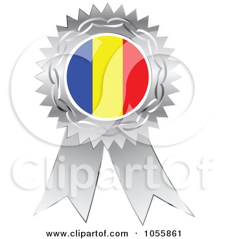 Royalty-Free Vector Clip Art Illustration of a Silver Ribbon Romania Flag Medal by Andrei Marincas