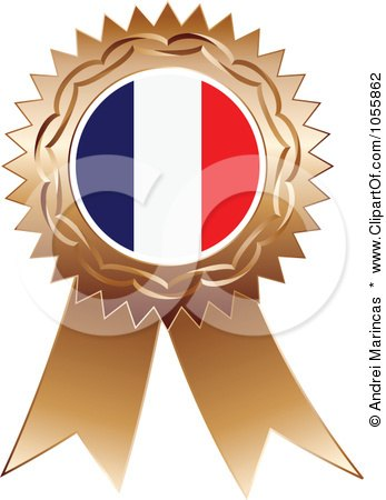 Royalty-Free Vector Clip Art Illustration of a Bronze Ribbon France Flag Medal by Andrei Marincas