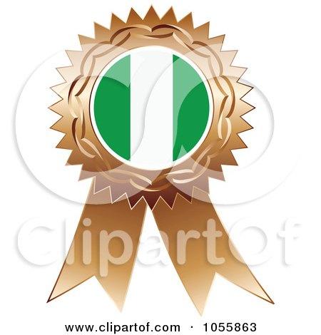 Royalty-Free Vector Clip Art Illustration of a Bronze Ribbon Nigeria Flag Medal by Andrei Marincas
