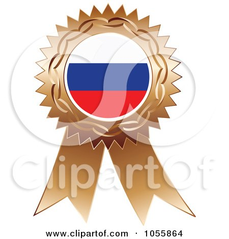 Royalty-Free Vector Clip Art Illustration of a Bronze Ribbon Russia Flag Medal by Andrei Marincas