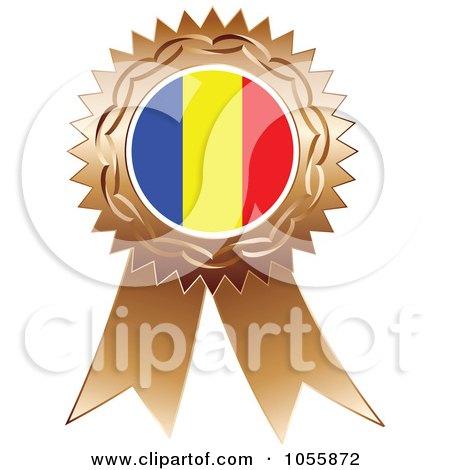 Royalty-Free Vector Clip Art Illustration of a Bronze Ribbon Romania Flag Medal by Andrei Marincas