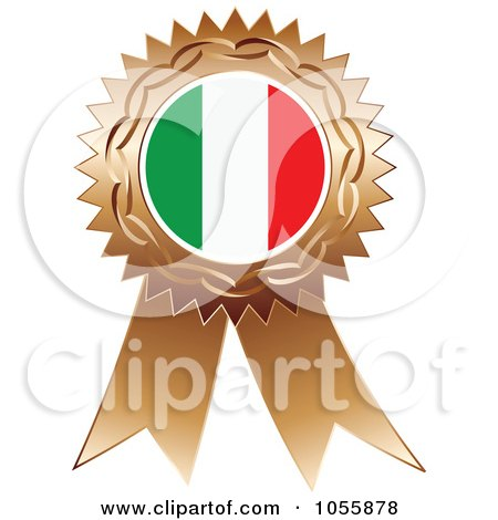 Royalty-Free Vector Clip Art Illustration of a Bronze Ribbon Italy Flag Medal by Andrei Marincas