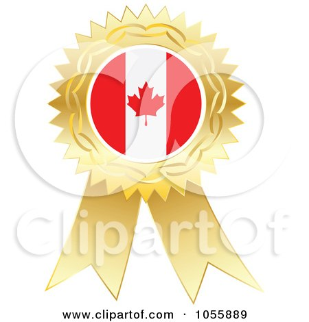 Royalty-Free Vector Clip Art Illustration of a Gold Ribbon Canadian Flag Medal by Andrei Marincas