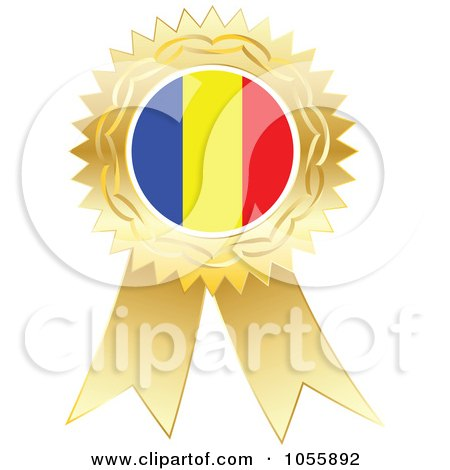 Royalty-Free Vector Clip Art Illustration of a Gold Ribbon Romania Flag Medal by Andrei Marincas