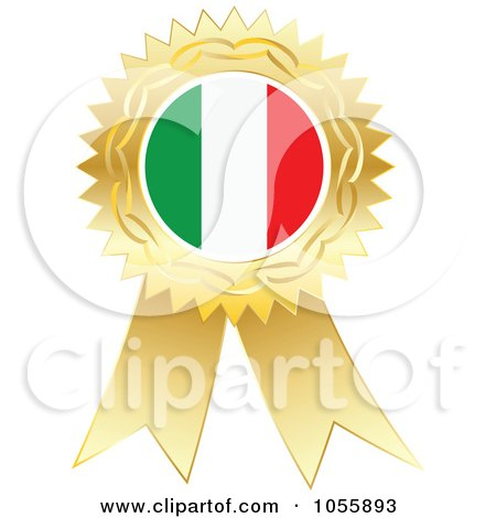 Royalty-Free Vector Clip Art Illustration of a Gold Ribbon Italy Flag Medal by Andrei Marincas