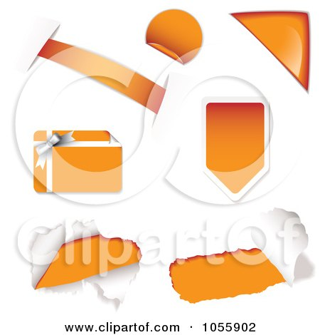 Royalty-Free Vector Clip Art Illustration of a Digital Collage Of Orange Design Elements by michaeltravers