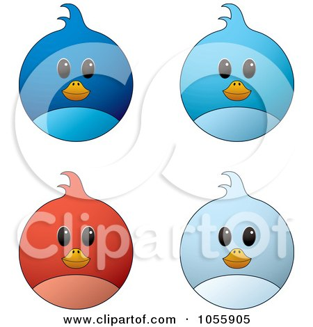 Royalty-Free Vector Clip Art Illustration of a Digital Collage Of Blue And Red Bird Faces by michaeltravers