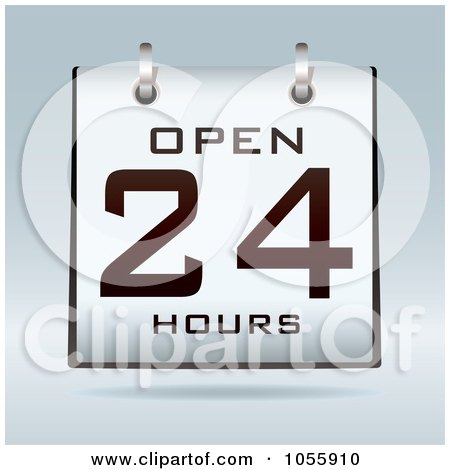 Royalty-Free Vector Clip Art Illustration of an Open 24 Hours Calendar On Gray by michaeltravers