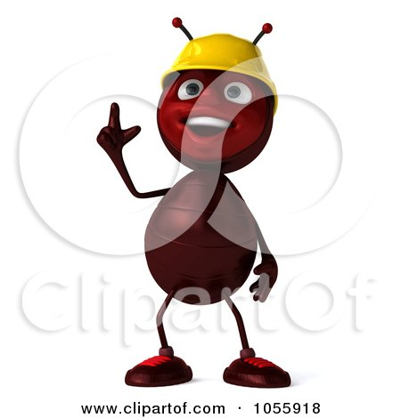 Royalty-Free CGI Clip Art Illustration of a 3d Worker Ant With An Idea by Julos