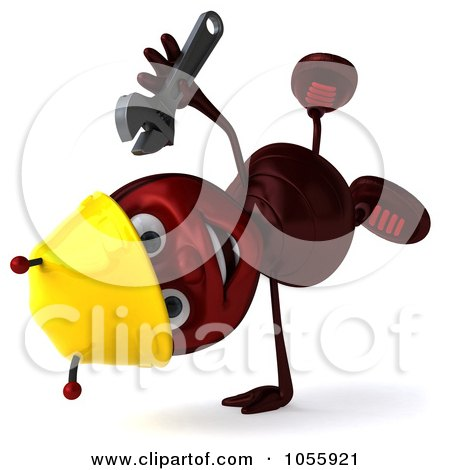 Royalty-Free CGI Clip Art Illustration of a 3d Worker Ant Holding A Wrench And Doing A Hand Stand by Julos