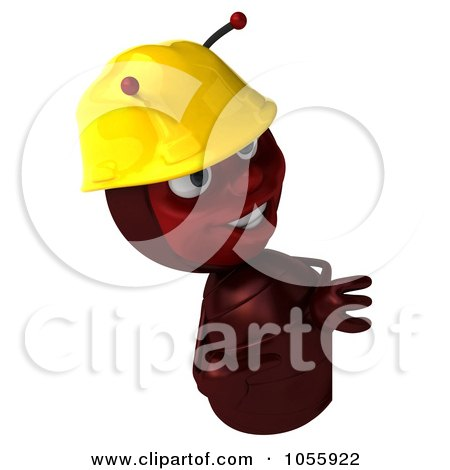 Royalty-Free CGI Clip Art Illustration of a 3d Worker Ant Pointing At And Looking Around A Blank Sign by Julos