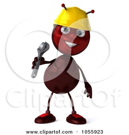 Royalty-Free CGI Clip Art Illustration of a 3d Worker Ant Holding A Wrench And Smiling by Julos