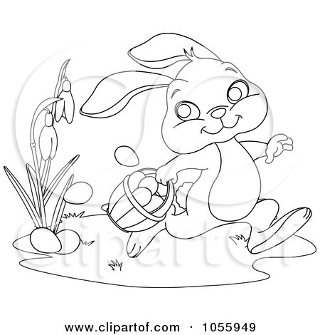 Royalty Free Vector Clip Art Illustration Of A Coloring Page Outline Cute Easter Bunny Dropping Eggs By Pushkin