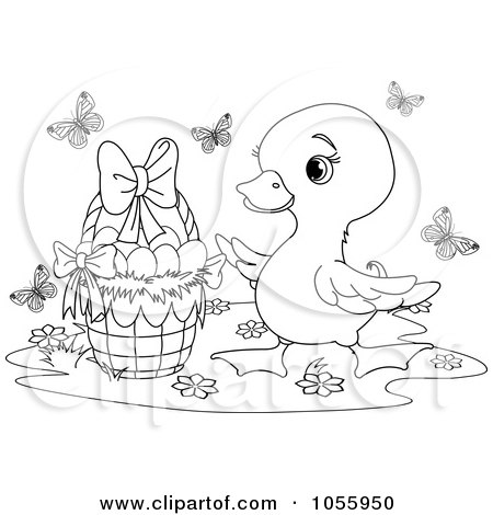 Royalty-Free Vector Clip Art Illustration of a Coloring Page Outline Of A Cute Duckling By An Easter Basket by Pushkin