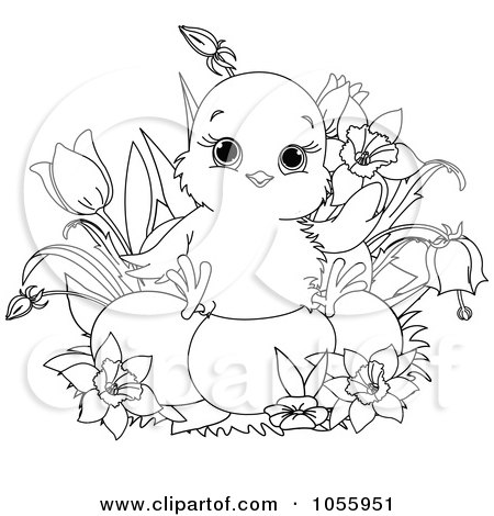 Printable Easter Coloring Pages on Coloring Page Outline Of A Cute Chick Sitting On Easter Eggs By
