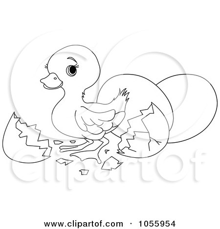Royalty-Free Vector Clip Art Illustration of a Coloring Page Outline Of A Cute Easter Duck Hatching by Pushkin