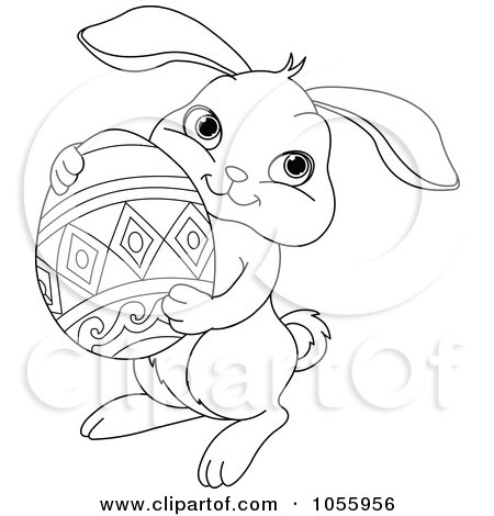 Coloring Page Outline Of A Cute Easter Bunny Holding An