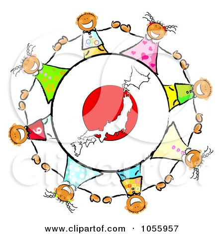 Royalty-Free Clip Art Illustration of a Circle Of Japanese Kids Around A Japan Globe by MacX