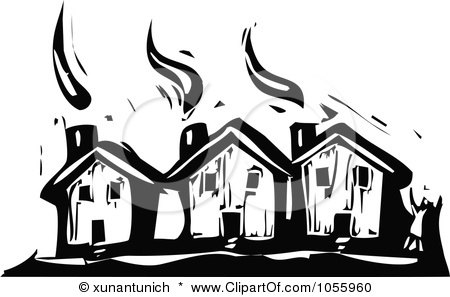 Royalty-Free Vector Clip Art Illustration of a Black And White Woodcut Styled Person Waving By Three Houses by xunantunich