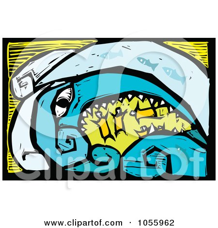 Royalty-Free Vector Clip Art Illustration of a Woodcut Styled Tsunami Monster Swallowing People by xunantunich