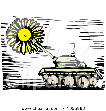 Royalty-Free Vector Clip Art Illustration of a Woodcut Styled Military Tank And Sun by xunantunich