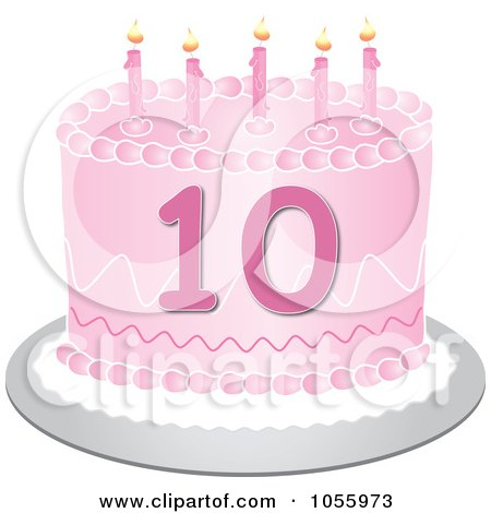 Pink Tenth Birthday Cake Candles Pams Clipart1055973
