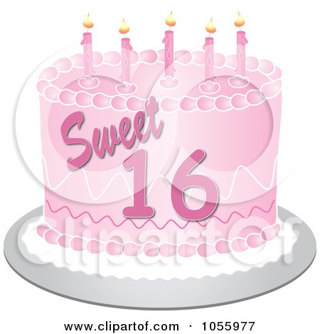 Free Vector Birthday on Free Vector Clip Art Illustration Of A Pink Sweet Sixteen Birthday