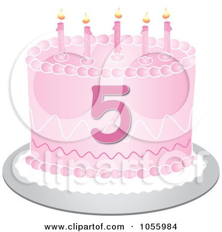 "Clip Art Illustration of a Pink Birthday Cake with the Number ""5"" by Pams Clipart"