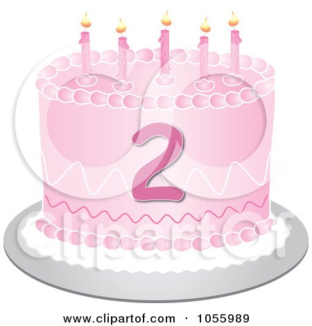 Royalty-Free Vector Clip Art Illustration of a Pink Second Birthday Cake With Candles by Pams Clipart
