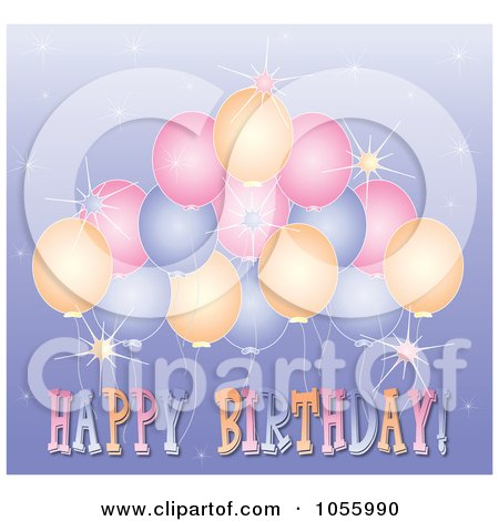 Royalty-Free Vector Clip Art Illustration of a Happy Birthday Greeting With Sparkles And Balloons On Purple by Pams Clipart