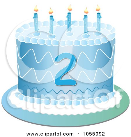 Royalty-Free Vector Clip Art Illustration of a Blue Second Birthday Cake With Candles by Pams Clipart