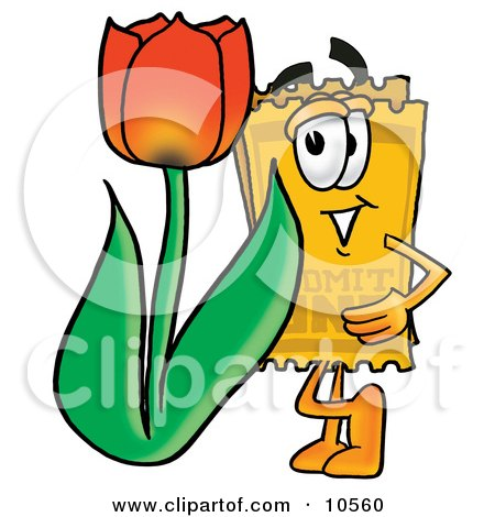 Yellow Admission Ticket Mascot Cartoon Character With a Red Tulip Flower in the Spring Posters, Art Prints