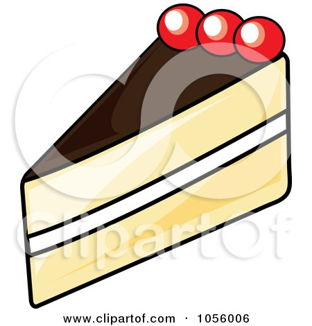 Royalty-Free Vector Clip Art Illustration of a Slice Of Boston Cream Pie by Pams Clipart