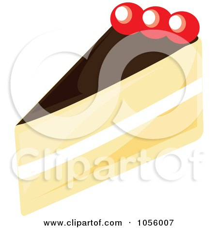 Royalty-Free Vector Clip Art Illustration of a Boston Cream Pie Slice by Pams Clipart