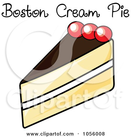 Royalty-Free Vector Clip Art Illustration of a Slice Of Boston Cream Pie With Text by Pams Clipart