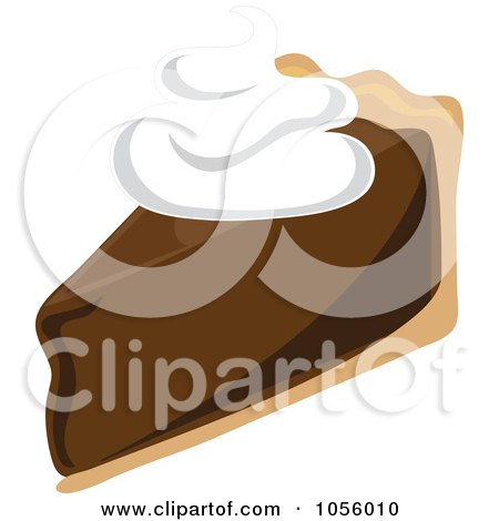 Royalty-Free Vector Clip Art Illustration of a Slice Of Chocolate Cream Pie Topped With Whipped Cream by Pams Clipart